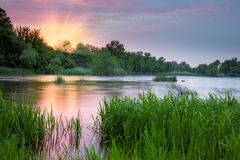 Beautiful colorful morning near the river Royalty Free Stock Photo