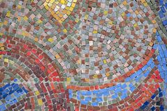 Beautiful colorful mosaic of square elements on the wall. Beautiful colorful mosaic of different square elements on the wall stock images