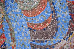 Beautiful colorful mosaic of square elements on the wall. Beautiful colorful mosaic of different square elements on the wall stock photos