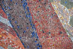 Beautiful colorful mosaic of square elements on the wall. Beautiful colorful mosaic of different square elements on the wall stock photography