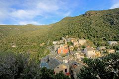 Beautiful colorful mountain village in Corsica, France Stock Photo