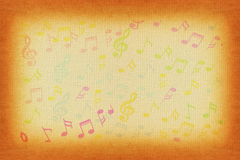 Beautiful colorful Music notes in old paper background Stock Image