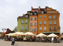 Beautiful colorful Old Buildings and Restaurants at Market Square in Warsaw,Poland Royalty Free Stock Photo