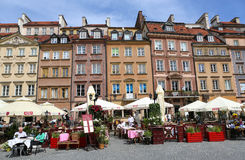 Beautiful colorful Old Buildings and Restaurants at Market Square in Warsaw,Poland Stock Photo