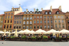 Beautiful colorful Old Buildings and Restaurants at Market Square Royalty Free Stock Photos