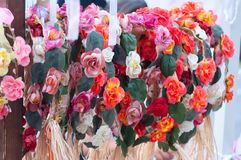Flowers of multicolor paper roses. stock image