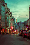 Beautiful and colorful parisian city street scene Royalty Free Stock Photos