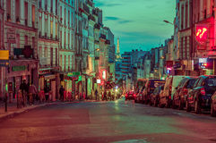 Beautiful and colorful parisian city street scene Stock Photos