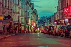 Beautiful and colorful parisian city street scene Stock Photos