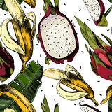 Beautiful colorful pattern with leaves and juicy Stock Photography