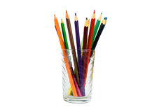 Beautiful colorful pencils in a glass.  Royalty Free Stock Photos