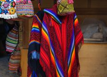 Colorful Peruvian poncho in the market in Machu Picchu, one of the New Seven Wonder of The World, Cusco Region Peru, Urubamba royalty free stock images