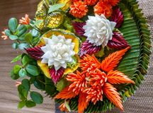 Colorful Thai Carved Vegetable Platter. A beautiful, colorful platter of carved vegetables from Thailand showing traditional handicraft Royalty Free Stock Photo
