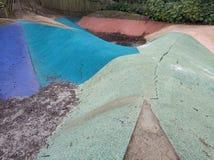 Beautiful colorful playground purple green blue stock photo