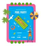 Summer invitation to event, poster, flyer, on party near pool. Stock Photography