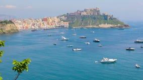 Beautiful colorful Procida island, Italy stock footage