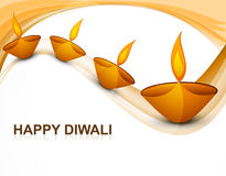 Beautiful colorful religious decoration Diwali diya. Celebration wave background