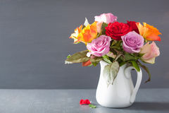 Beautiful colorful rose flowers bouquet in vase Royalty Free Stock Image