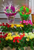 Beautiful colorful roses for sale Royalty Free Stock Image