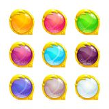 Beautiful colorful round buttons. With golden border. Vector assets for web or game design. Decorative GUI elements, isolated on white background Royalty Free Stock Photos