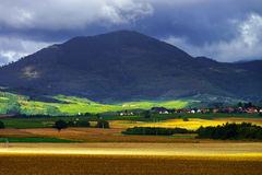 Beautiful colorful rural landscape with contrast areas of light Royalty Free Stock Image