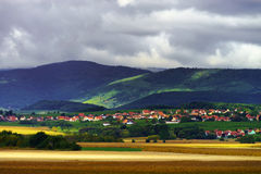 Beautiful colorful rural landscape with contrast areas of light Stock Photo