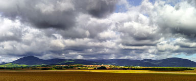 Beautiful colorful rural landscape with contrast areas of light Stock Image