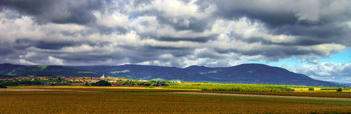 Beautiful colorful rural landscape with contrast areas of light Stock Photos