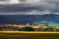 Beautiful colorful rural landscape with contrast areas of light Royalty Free Stock Images