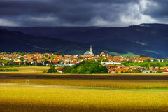Beautiful colorful rural landscape with contrast areas of light Royalty Free Stock Photos