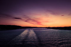 A beautiful, colorful seascape of the Sweden winter eventing from a ferry Royalty Free Stock Image