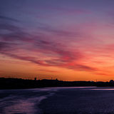 A beautiful, colorful seascape of the Sweden winter eventing from a ferry Stock Image