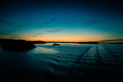 A beautiful, colorful seascape of the Sweden winter eventing from a ferry Stock Images