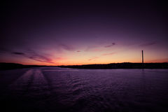 A beautiful, colorful seascape of the Sweden winter eventing from a ferry Royalty Free Stock Images