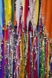 Beautiful colorful shawl in street market,India Stock Photo