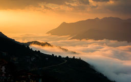 Beautiful colorful sky with cloud and mountains. In Sapa, Vietnam stock images