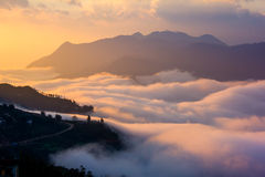 Beautiful colorful sky with cloud and mountains Stock Images