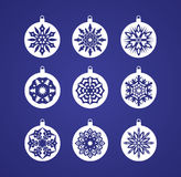 Beautiful colorful snowflake decoration set. Stock Photography