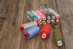Beautiful Colorful spools of thread. Thread is used around the world to sew things together to keep people clothed and warm and in the latest fashion Royalty Free Stock Images