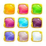 Beautiful colorful square buttons. With golden border. Vector assets for web or game design. Decorative GUI elements, isolated on white background vector illustration