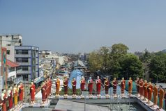 Beautiful colorful statues of buddhist saints  and monks at the temple. In Colombo in Sri Lanka royalty free stock photos