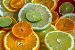 Different types of citrus, cut into circles. stock images