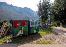 Beautiful colorful street art welcoming pilgrims in Cuerres, Asturias, Camino de Santiago route, Spain royalty free stock images