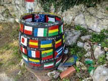 Beautiful colorful street art welcoming pilgrims in Cuerres, Asturias, Spain royalty free stock image