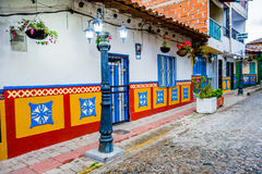 Beautiful and colorful streets in Guatape, known Stock Images
