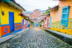 Beautiful and colorful streets in Guatape, known royalty free stock image