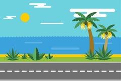 Beautiful colorful summer seascape illustration Stock Photos