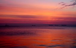 Beautiful colorful sunrise over the Baltic sea in Poland Royalty Free Stock Photography