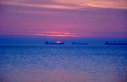 Beautiful colorful sunrise over the Baltic sea in Poland. New day in spring Royalty Free Stock Photography