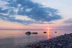 Beautiful colorful sunrise over the sea Stock Images